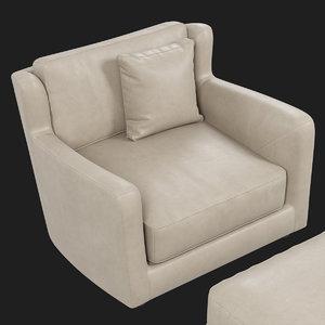 baxter bergere armchair pouf 3D model