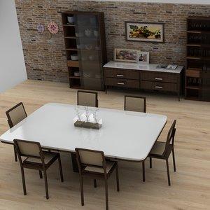 3D dining room l038