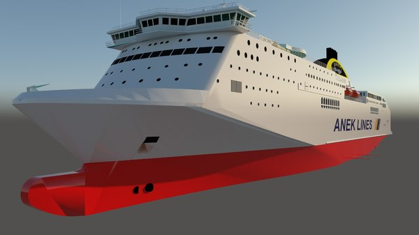 3D ferry boat ship