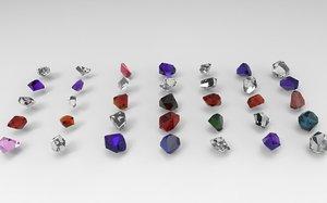 emerald gem crystal garnet 3D model