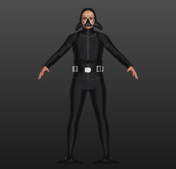 3D rigged scuba man