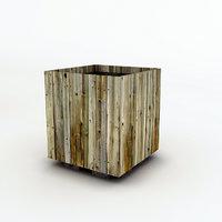 wood trash bin 3D model