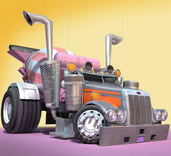 3D cartoon concrete mixer