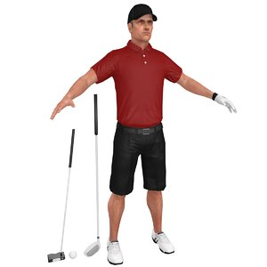 3D golfer clubs man