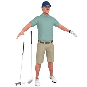 3D model golfer clubs man