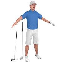3D golfer clubs man