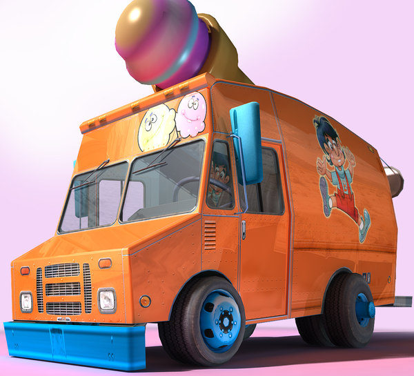 3D cartoon ice step van model