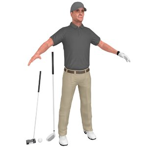 golfer clubs ball 3D