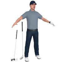 golfer clubs ball 3D model