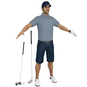 golfer clubs man 3D