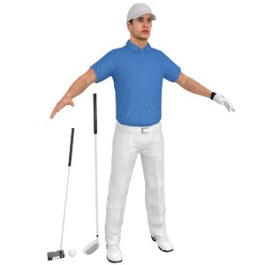 3D model golfer clubs ball