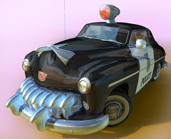 generic cartoon retro police car 3D model