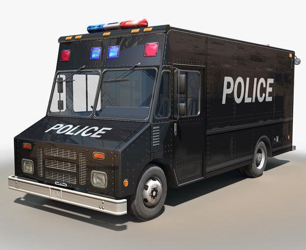 step van police cars 3D model