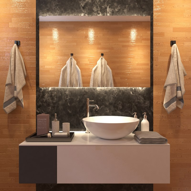 modern wooden bathroom interior 3D model