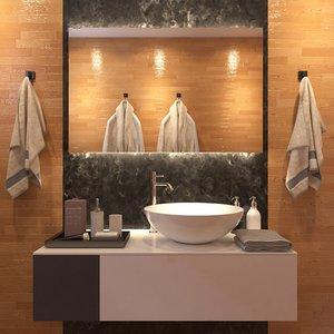 modern wooden bathroom interior 3D model