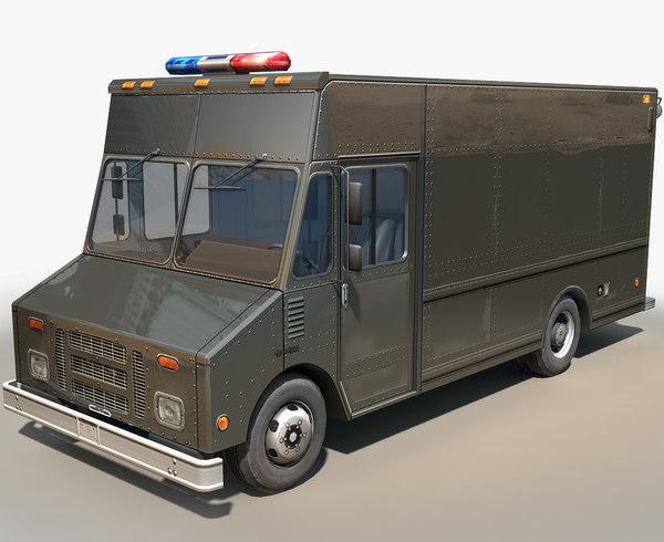 3D step van unlettered police swat
