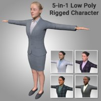 5-in-1 Low Poly Rigged Female Character - Maya Rig