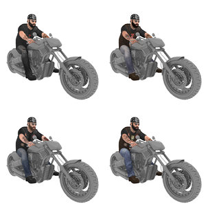 3D pack rigged biker model