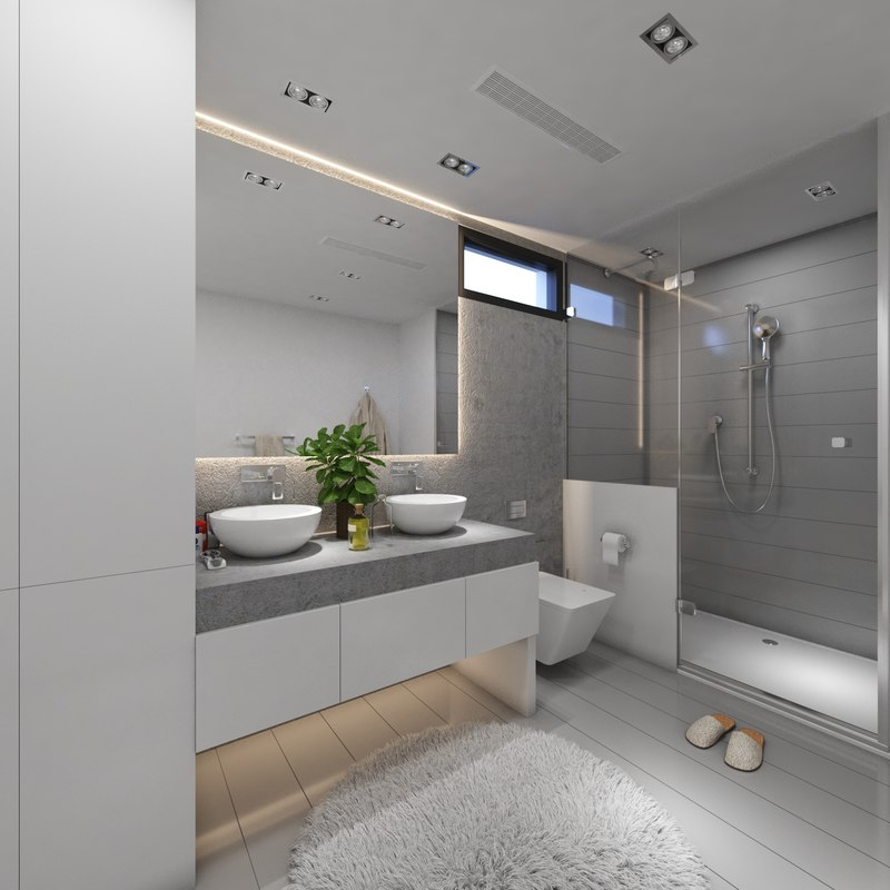 3D modern grey bathroom interior model