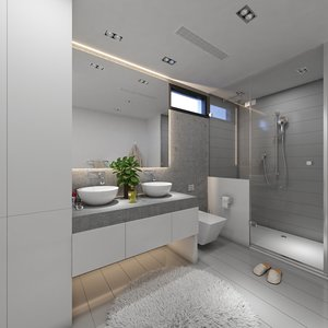 3D modern grey bathroom interior model