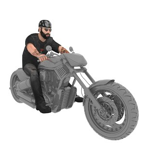 3D model rigged biker man