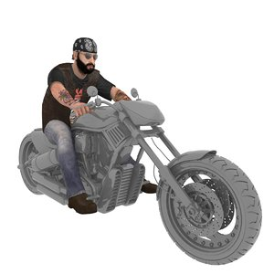 3D rigged biker man 2