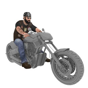 rigged biker man 3D model