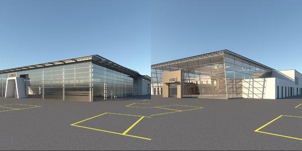 3D car dealership building interior