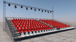 3D model grandstand seat