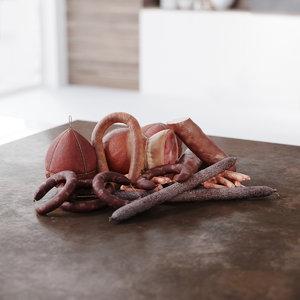 3D meats salami ham model