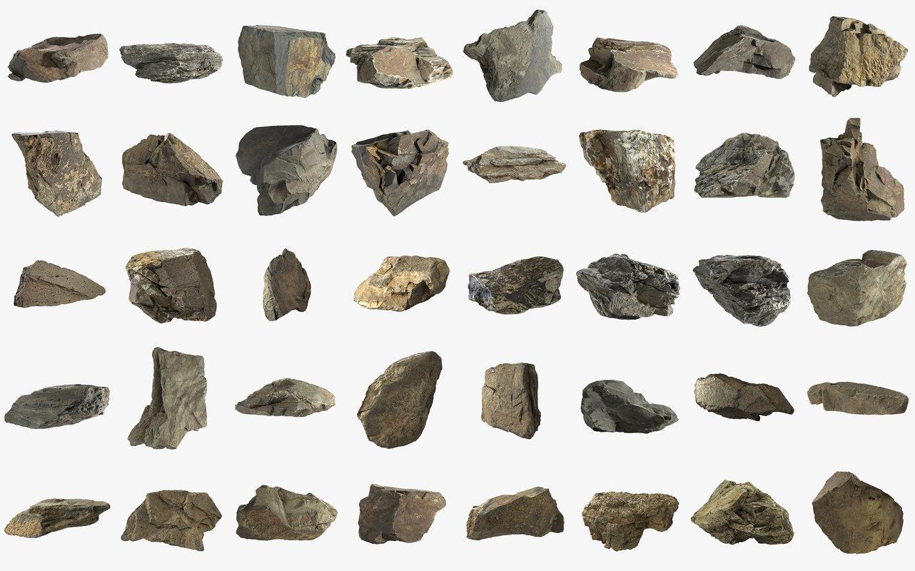 3D pack stones mountain 40 model