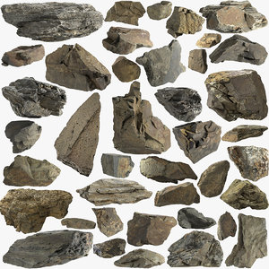 3D pack stones mountain 40 model