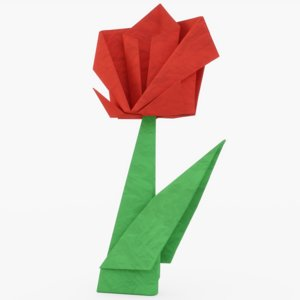 origami rose 3D model