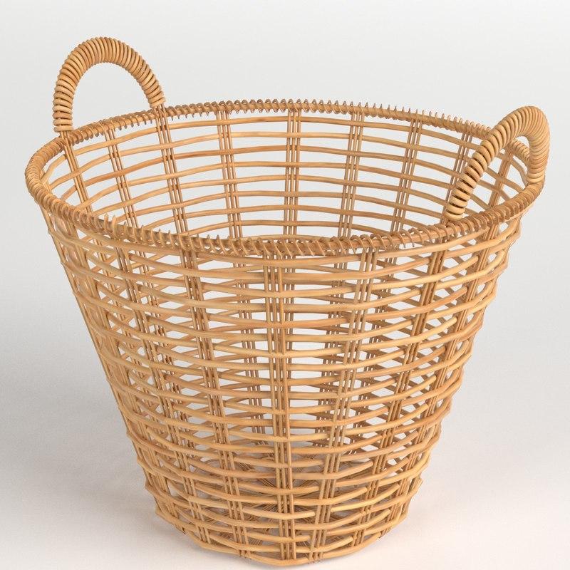 3D wicker basket model