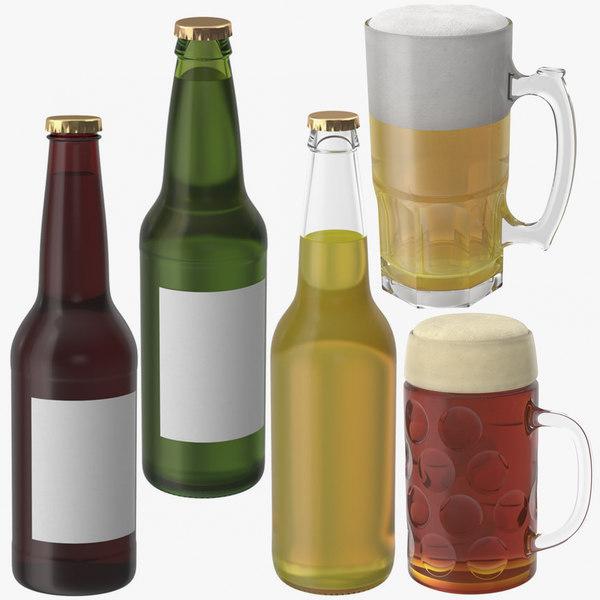 3D beer bottles mugs model