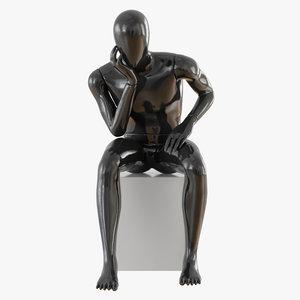 3D model faceless male mannequin