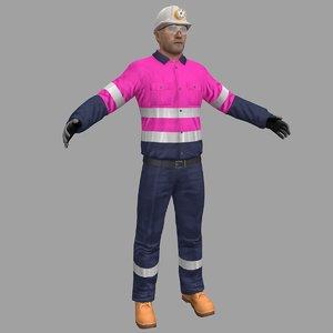 3D miner safety worker