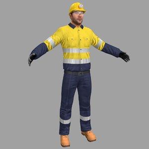 miner safety worker 3D model