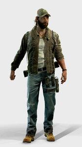 3D model archer survivor character knife