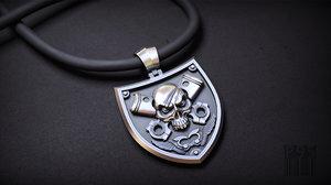 3D model biker jewellery skull pendant