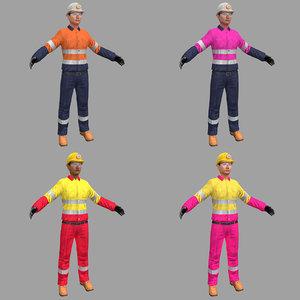 pack female miner 3D model