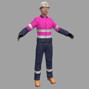 female miner worker 3D