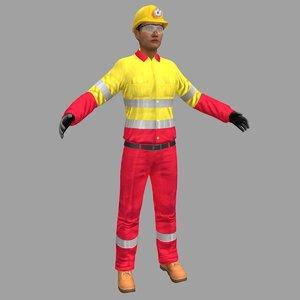 female miner worker 3D model