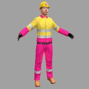 3D female miner worker 4