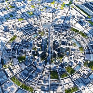 3D future futuristic architectural