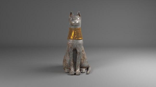 cat statue egyptian 3D model