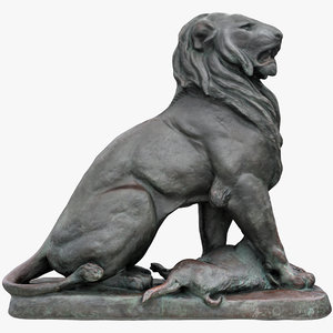 3D lion prey sculpture