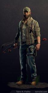 3D archer survivor character knife model