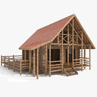 3D model old wood cabin