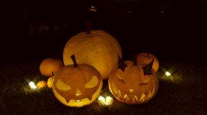 pumpkin halloween scene 3D